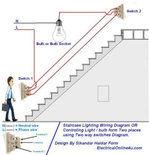 two way light switch diagram & Staircase Wiring Diagram