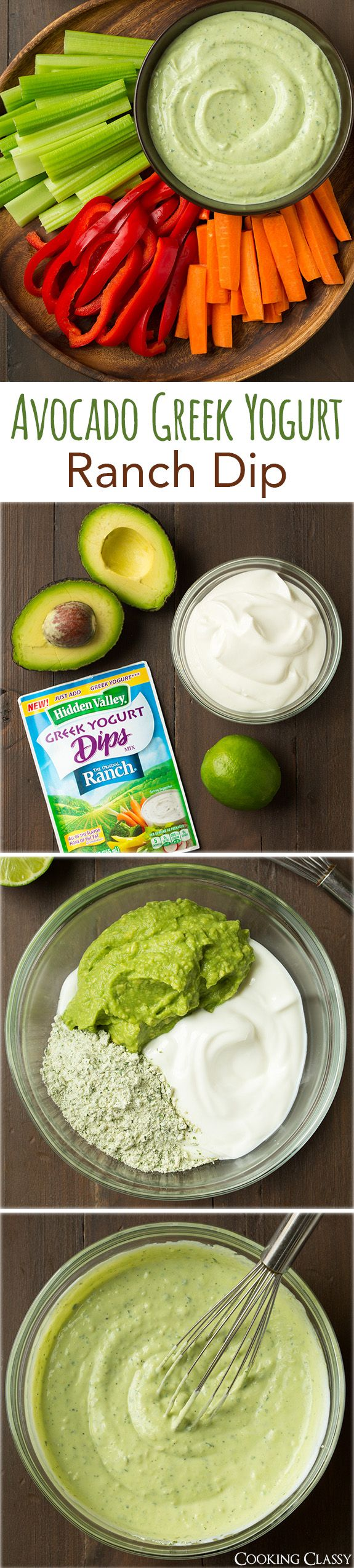 Avocado Greek Yogurt Ranch Dip –  only 4 ingredients and a breeze to make! So delicious, even my kids loved it! It's so good as a