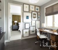 home office paint color with dark wood floor and desk ...