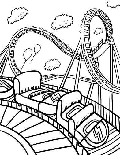 Printable roller coaster coloring page. Free PDF download