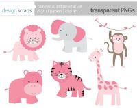 baby girl clip art, pink wild jungle safari zoo animals