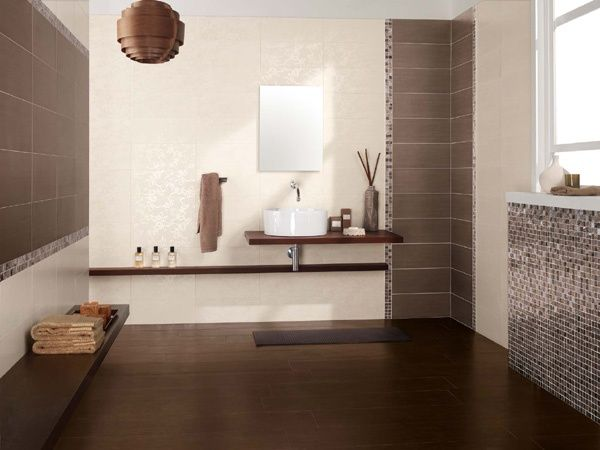 Rivestimento da bagno Brown con decoro Jungle Full