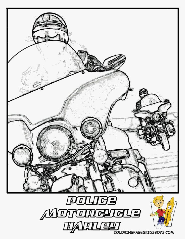Harley-Davidson Police Motorcycle Coloring Page This is