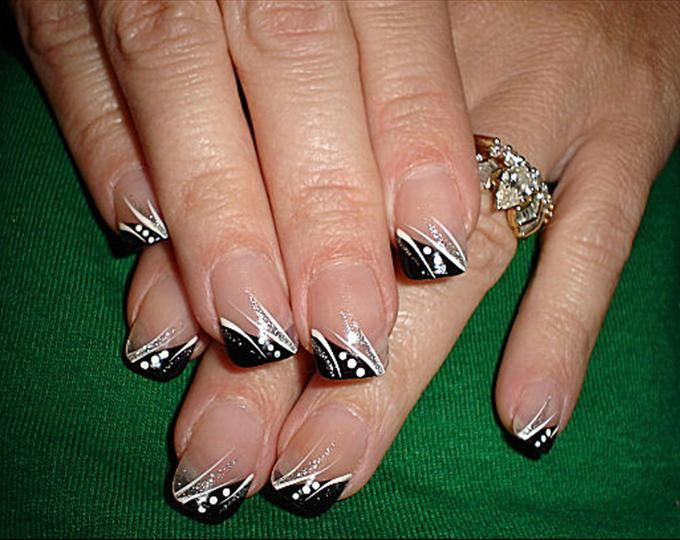 Red French Tip Nail Designs with Black Polka Dots