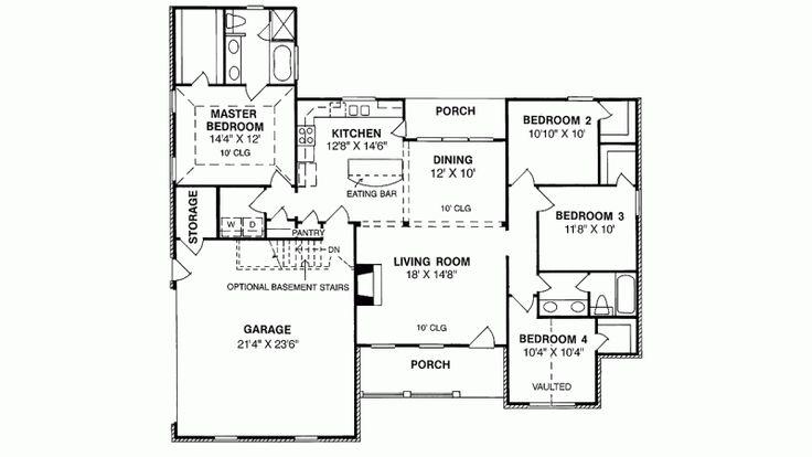 1539 sq ft, one story, 4 bedroom 2 bathroom ranch floor