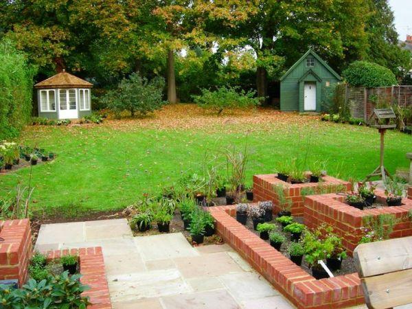 raised brick planters landscape