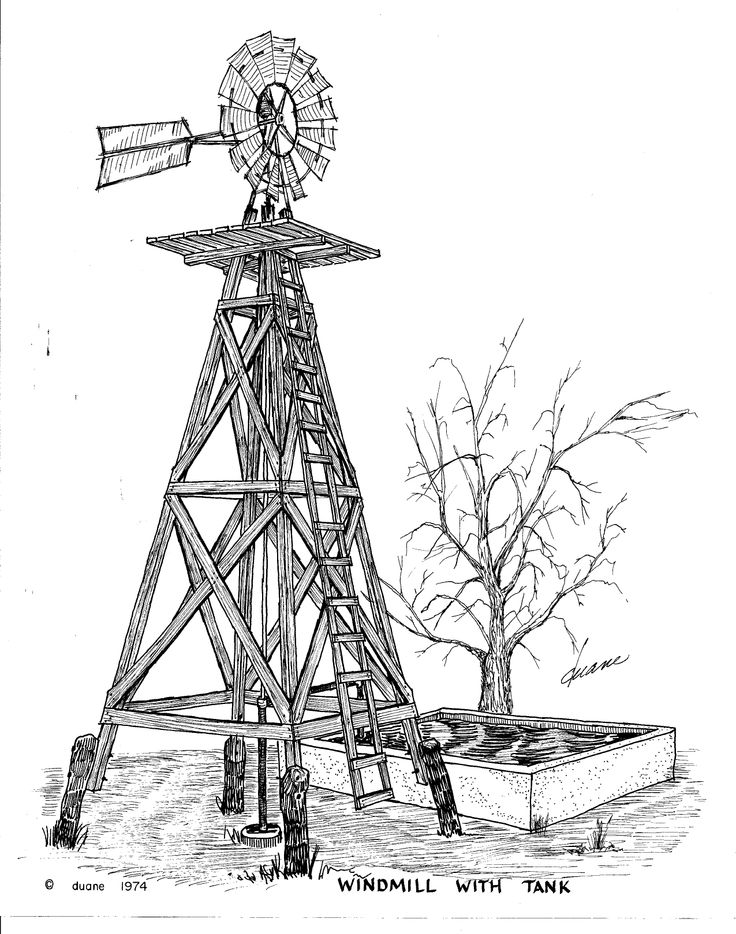 Metal Windmill with wooden tower and concrete water tank