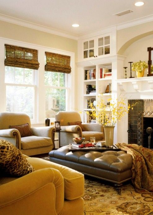 mustard yellow and bronze good match Beautiful Warm  Inviting Living Room