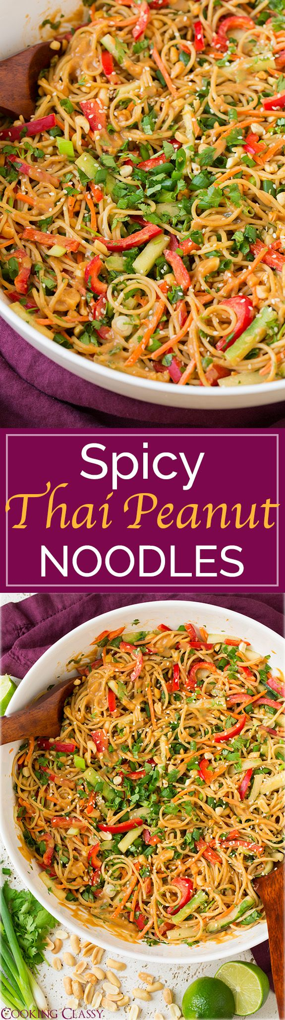 Spicy Thai Peanut Noodles – once you try these you will CRAVE them all the time! Easy to make and amazing