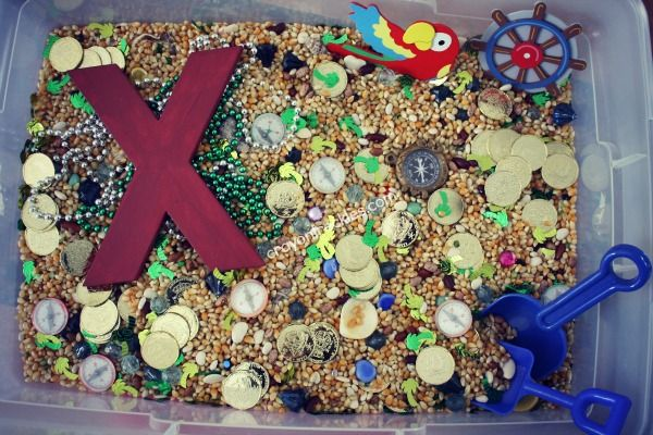 10 Ideas for Pirate Sensory Play Me Hearties  Coins