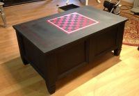 Coffee table, game table with checkerboard painted with ...