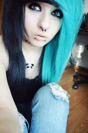 blue emo hair and black