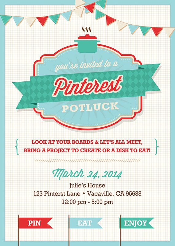 Pinterest Potluck Party Invitation PRINTABLE By