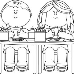 Toddler Chair And Table For Eating Sleeper Chairs South Africa Clip Art Black White | Kids In Class - ...