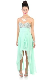 Deb Shops #mint chiffon high low long #prom #dress with ...