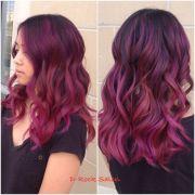 rose purple color melt hair