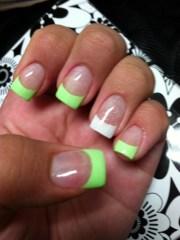 mint & white glitter tips # acrylic