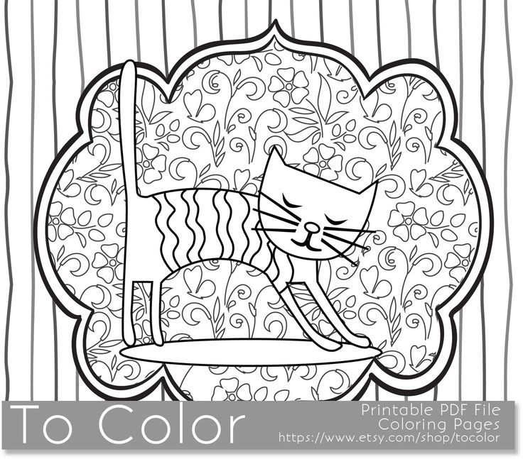 Printable Whimsical Cat Coloring Page for Adults, PDF
