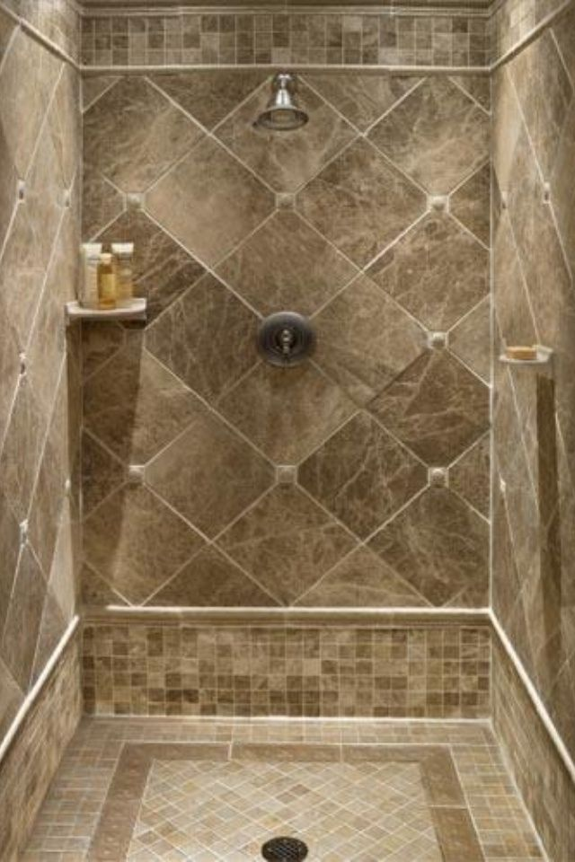 Small Tiles Floor And Large Diamond Cut Shape Tiles For