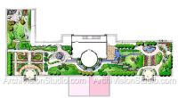 Wide shallow garden design on a large scale with multiple ...