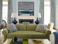 green couch, blue accents   Home   Pinterest   Blue ...