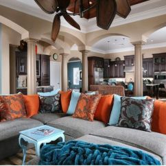 Burnt Orange Sofa And Loveseat How To Remove Oil Stains From Cloth Living+room+blue,+orange+and+brown+color+scheme+design ...