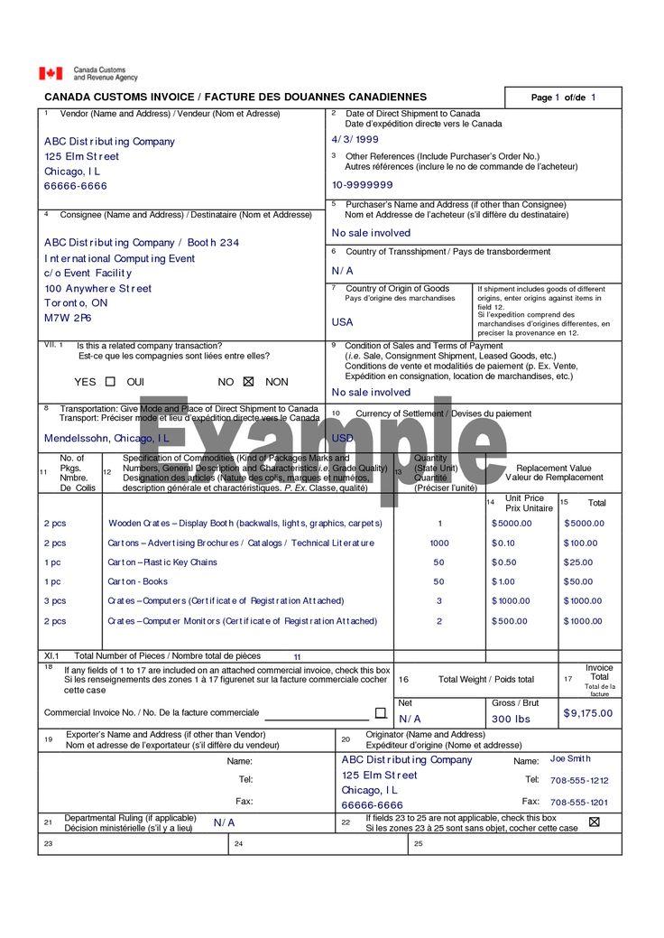 canada customs invoice canada customs invoice template