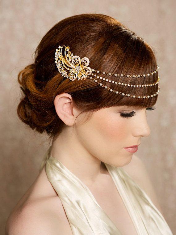 Gold Pearl And Rhinestone Headband Crystal Headband