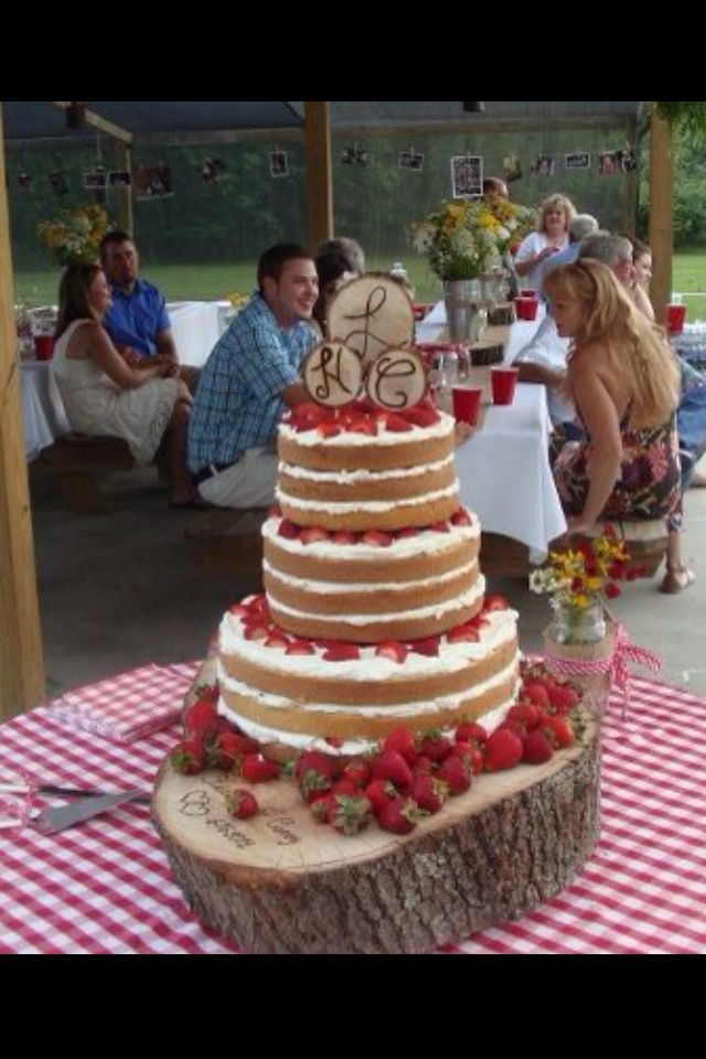 Strawberry Shortcake Wedding CakeI like this idea for a vows renewal  Angie  partyfavors