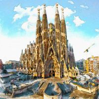 Sagrada Familia Watercolor painting Wall art City symbol