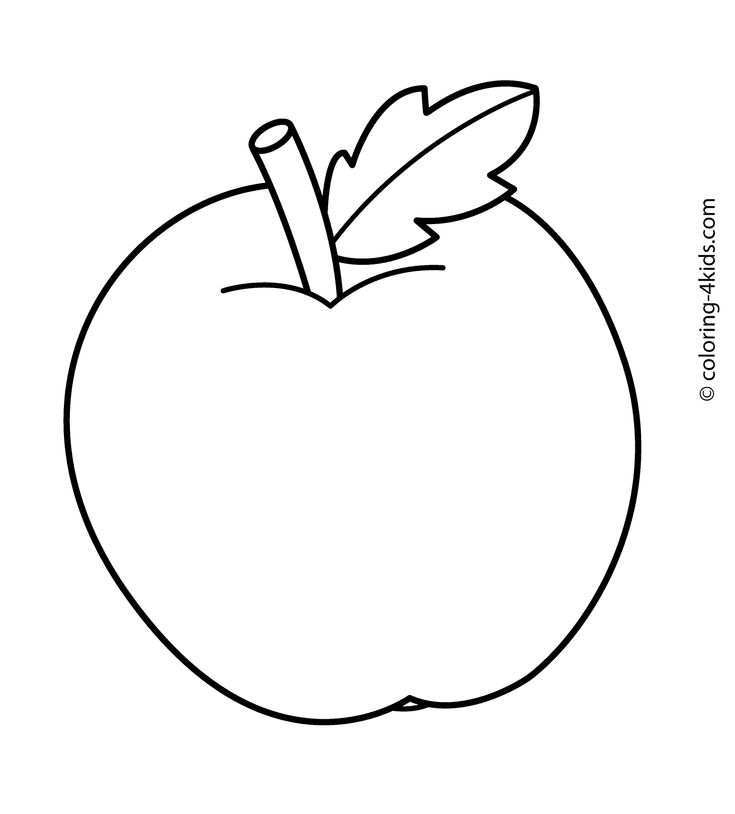 Apple Fruits coloring pages simple for kids, printable