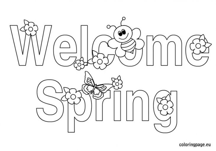 Welcome Spring With Butterfly And Bee Coloring Page