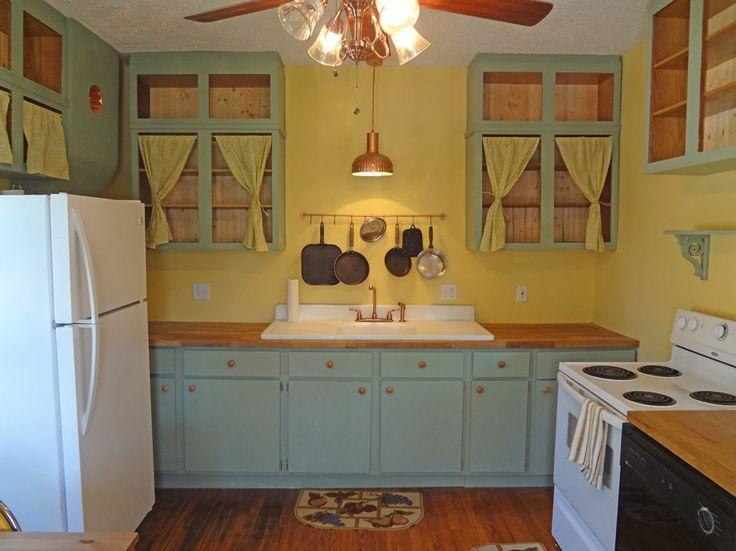 1930s kitchen curtains on cabinets  Kitchen ideas