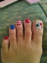 4th of july toes love nail art