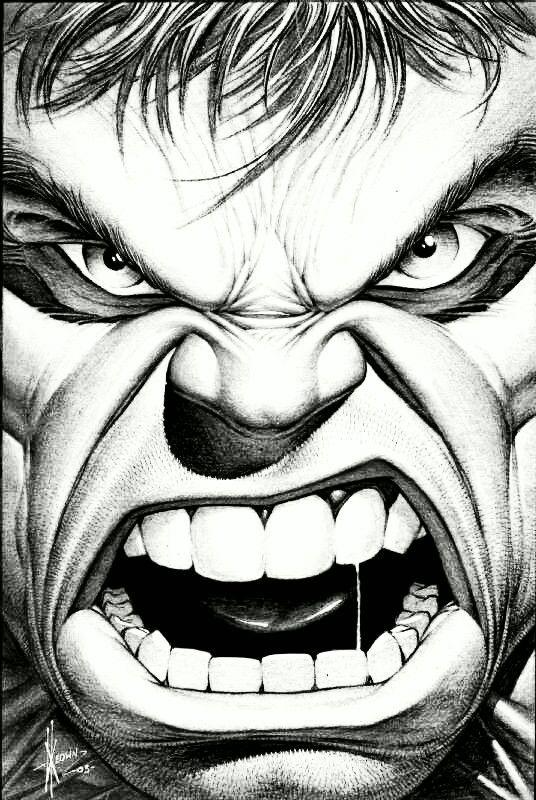 Hulk Face Drawing : drawing, Drawing, Installer