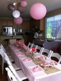 juna's baby shower table setting~ theme: pink, tan, white ...