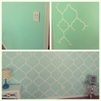 My mint green bedroom accent wall. Freehand painting ...