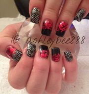 black and red bling gel nails