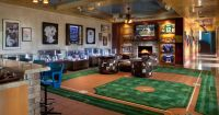 Baseball theme luxury Man Cave with custom carpet and ...