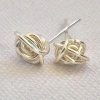 Wire wrapped earrings unique stud earrings knot earrings ...