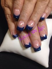 blue french tip nails acrylic