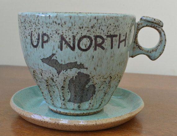 SET OF FOUR Rustic Michigan Mug Coffee  Tea Stackable Cup