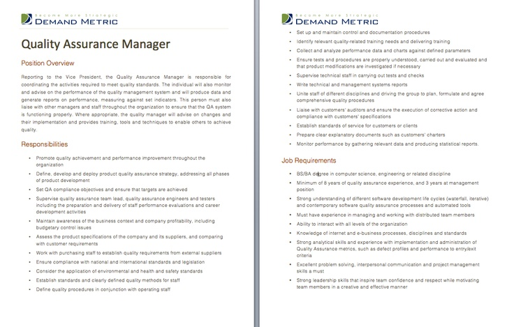 Quality Assurance Manager Job Description  A template to quickly document the role and