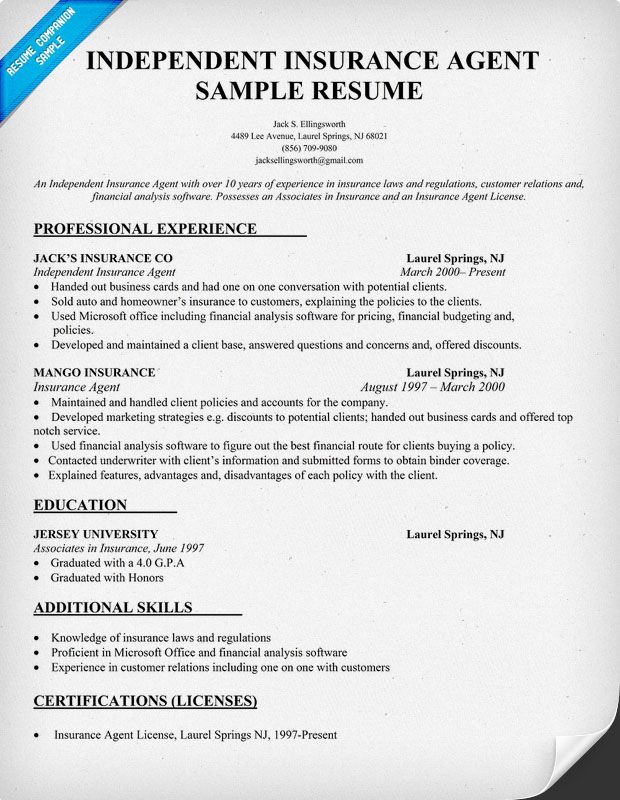 Insurance Agent Resume Examples - Cover Letter Resume Ideas ...