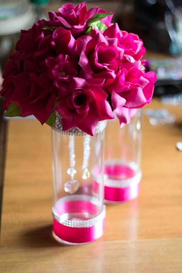 Pink wedding floral centerpieces bling DIY silk flowers
