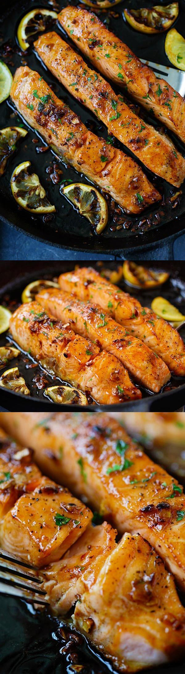 Honey Garlic Salmon – garlicky, sweet and sticky salmon with simple ingredients. Takes 20 mins, so good and great for
