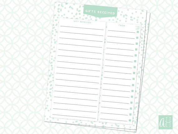 Printable Gifts Received Log with Thank You Card Sent