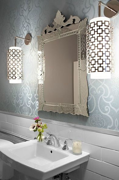 Beautiful bathroom design with Venetian mirror white