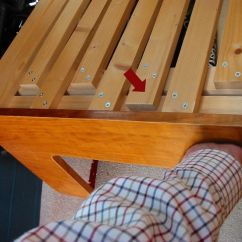 Futon Sofa Bed Comfortable How To Clean Oil Stains From Fabric Sliding Section Lifted -- Longer Slat On Fixed ...