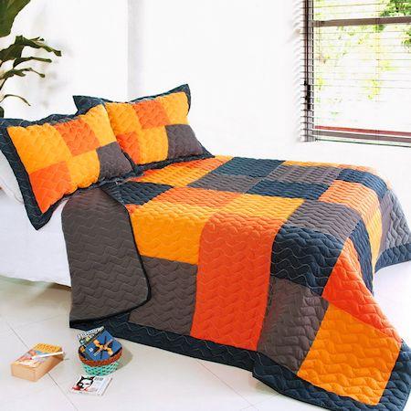 Black Orange Patchwork Teen Boy Bedding FullQueen Quilt